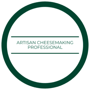 "medallion that reads ""artisan cheesemaking professional"""