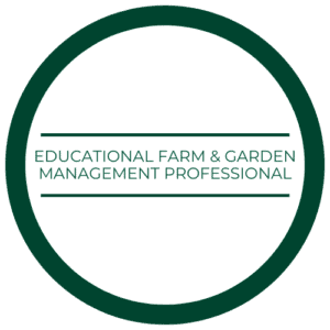 "medallion that reads ""educational farm and garden management professional"""