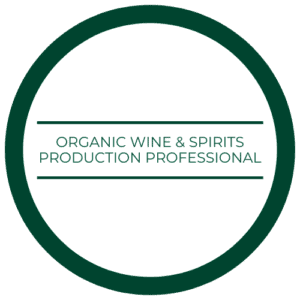 "medallion that read ""organic wine and spirits production professional"""