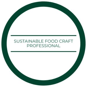 "medallion that reads ""sustainable food craft professional"""